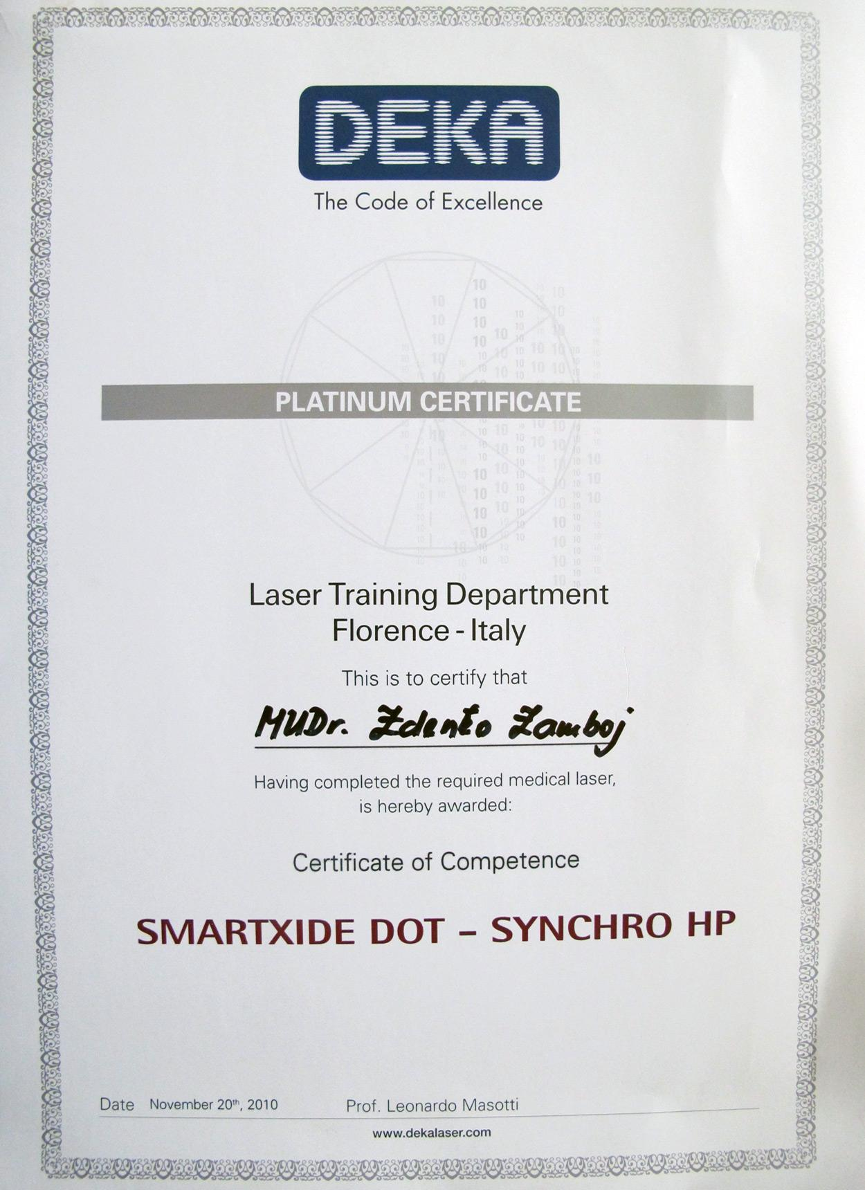 Certifikát Laser Training