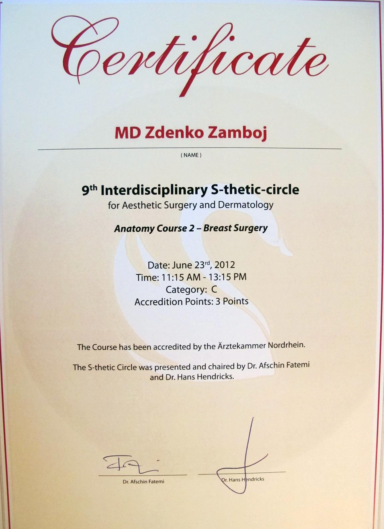 Certifikát Breast Surgery